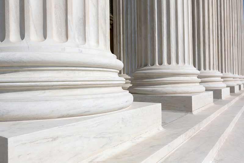 row of white pillars