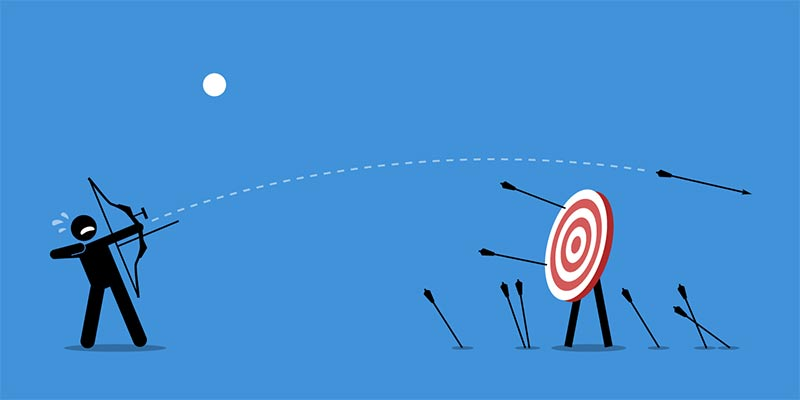 ilustration of a man firing an arrow at a target and missing